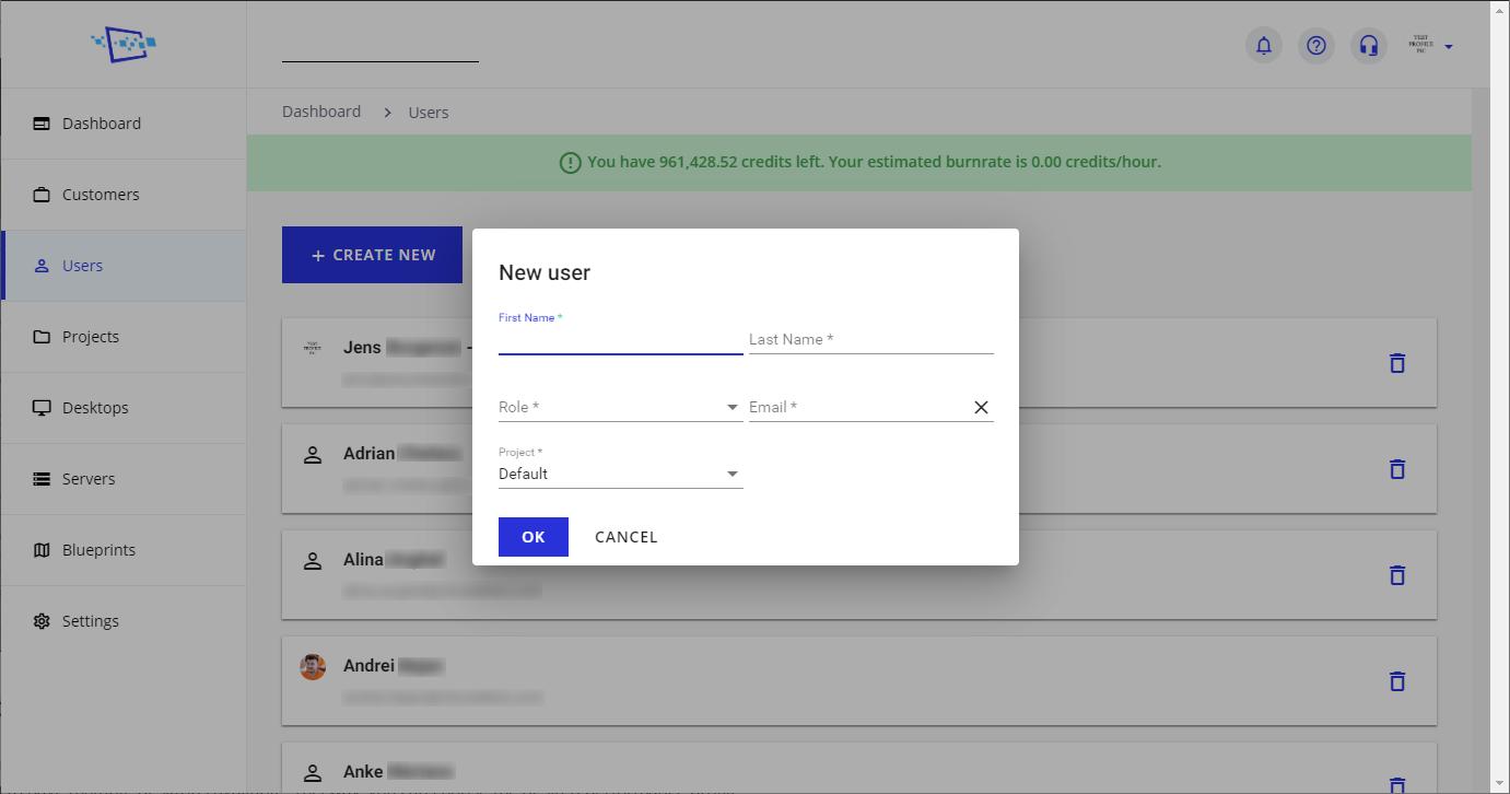 Cloudalize - create a user on the Cloudalize platform