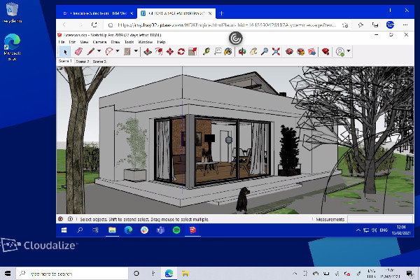 SketchUp Pro running on a 2015 Microsoft Surface 3