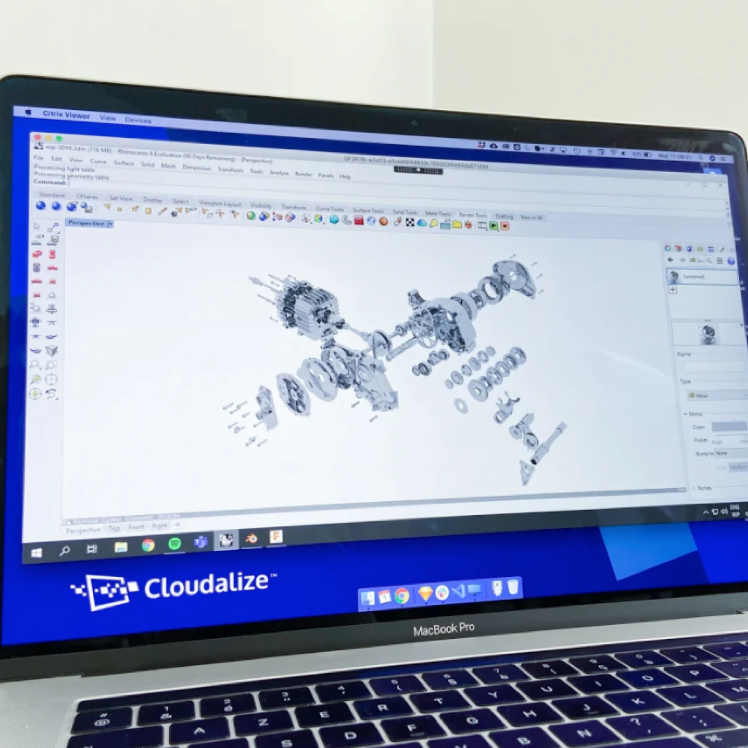 Cloudalize's GPU-powered Cloud Workstations (DaaS) Desktop-as-a-Service running on a MacBook with Rhino 3D BIM and Engineering software for engineers and architects.