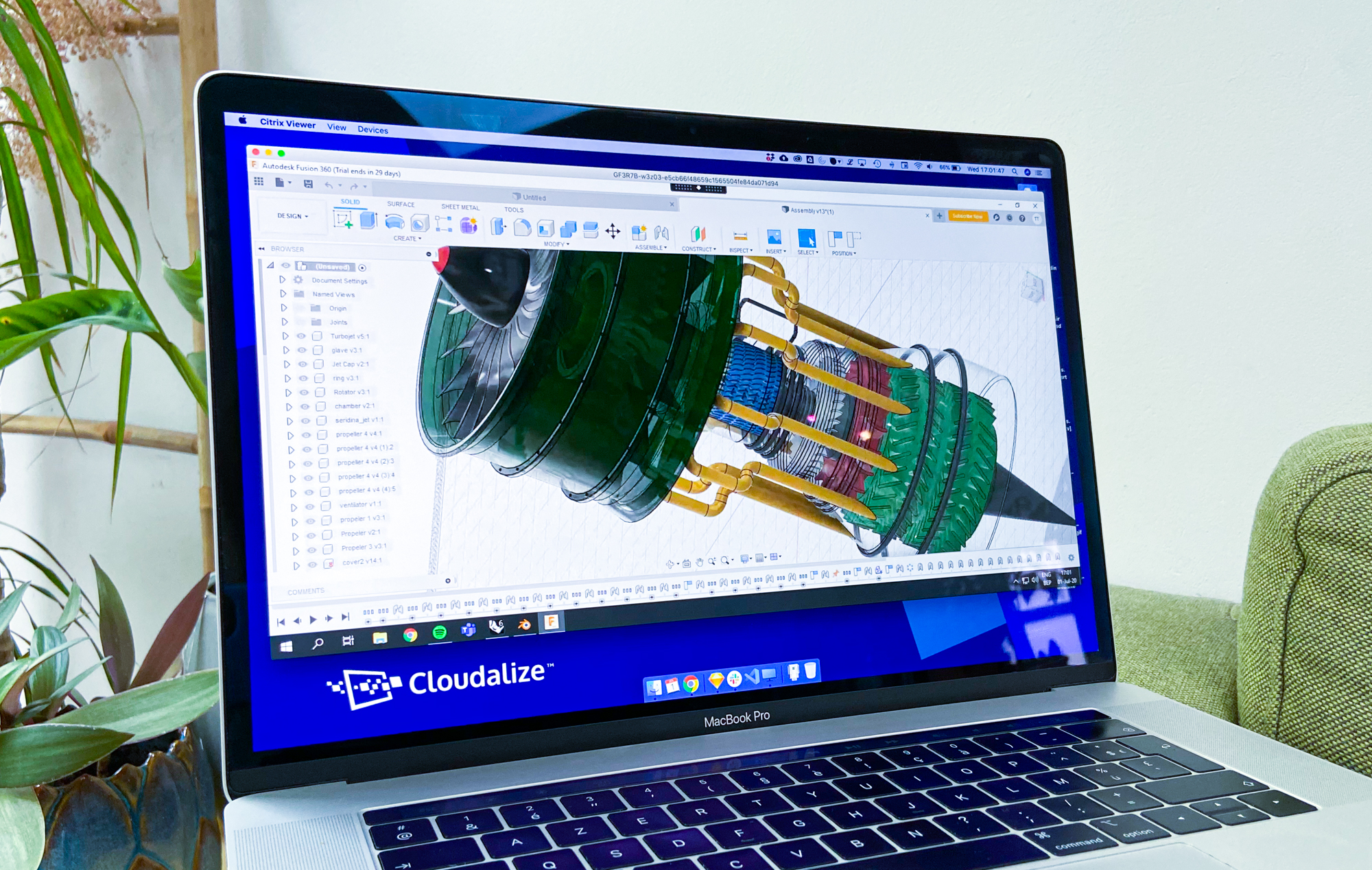 Cloudalize's GPU-powered Cloud Workstations (Desktop-as-a-Service) (DaaS) running Autodesk's Fusion360 in the Cloud for agile and efficient engineering on the Cloud.