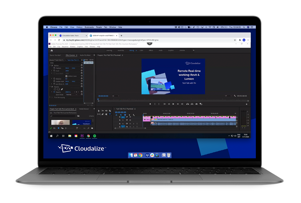 A GPU-powered Cloud Workstation running Adobe Premiere Pro. Simple, clear and no fuss Cloud for video and artistic studios.