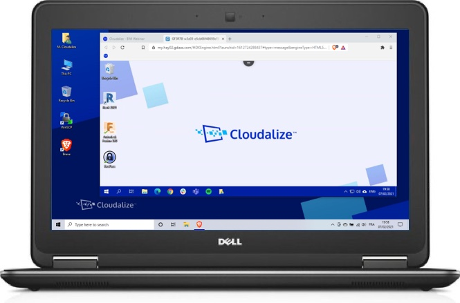 A Cloudalize Cloud Workstation running on Brave browser 2021, DELL Lattitude E7240
