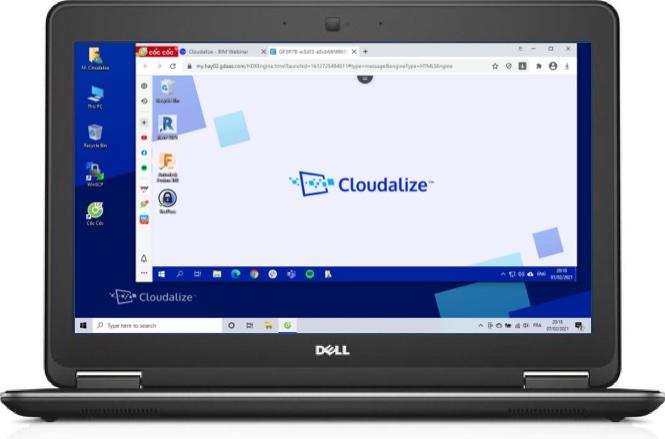 A Cloudalize Cloud Workstation running on CốcCốc browser 2021, DELL Lattitude E7240