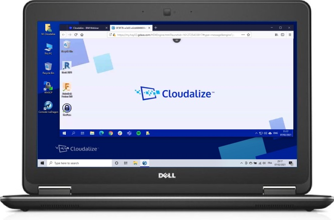 A Cloudalize Cloud Workstation running on Ice Dragon browser 2021, DELL Lattitude E7240
