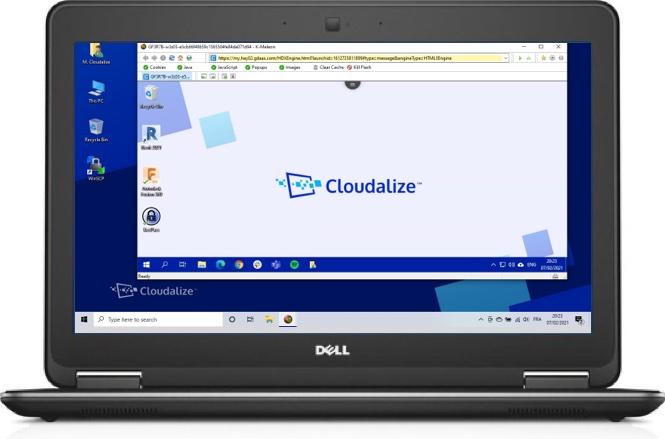 A Cloudalize Cloud Workstation running on K-Meleon 2021, DELL Lattitude E7240