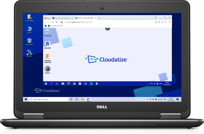 A Cloudalize Cloud Workstation running on Opera browser 2021, DELL Lattitude E7240