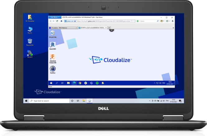A Cloudalize Cloud Workstation running on PaleMoon browser 2021, DELL Lattitude E7240
