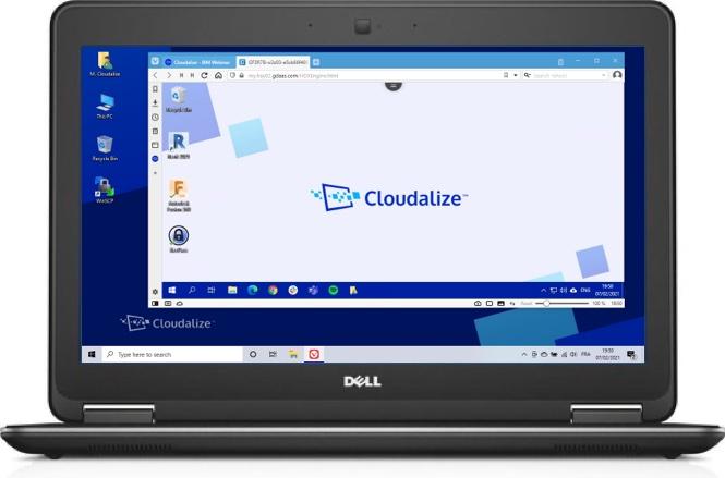 A Cloudalize Cloud Workstation running on Vivaldi browser 2021, DELL Lattitude E7240