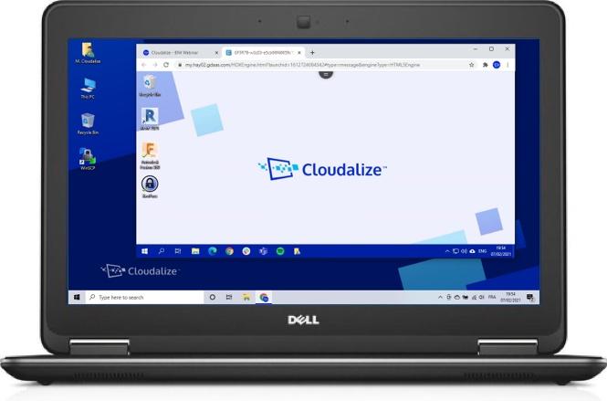 A Cloudalize Cloud Workstation running on Google Chrome 2021, DELL Lattitude E7240