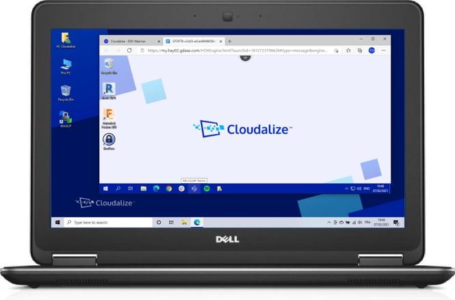 A Cloudalize Cloud Workstation running on Microsoft Edge 2021, DELL Lattitude E7240