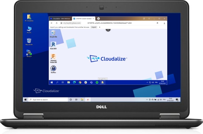 A Cloudalize Cloud Workstation running on Yandex browser 2021, DELL Lattitude E7240